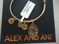 Alex And Ani Because I Love You Godmother Ii Russian Gold Bangle W/ Card & Box