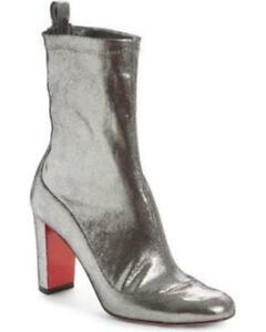 the latest d29ef 757e7 Details about Christian Louboutin GENA BOOTIE 85 Stretch Leather Ankle  Boots Heels Silver $995