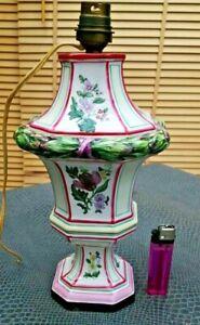 Détails sur joli pied de lampe en céramique peinte décor de fleurs
