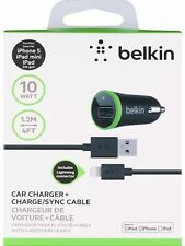 Belkin usb 2.1A car charger with Belkin USB Cable FOR iPhone 5, 5s, 5c,6, 6 Plus