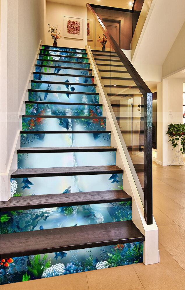 3D Magic Ocean 078 Stair Risers Decoration Photo Mural Vinyl Decal Wallpaper AU