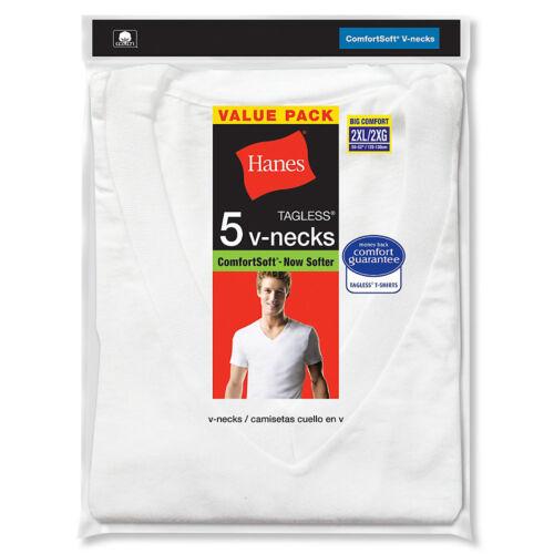 5-Pack Hanes Men/'s TAGLESS V-Neck Undershirt White