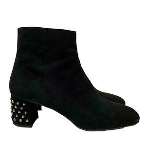 PRADA BLACK SUEDE ANKLE BOOTS WITH STUDDED HEELS, 41, $1200