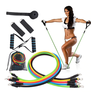 Gym Workout 11 PCS//SET 1.2m Resistance Fitness Bands TPE Band Pull Rope Exercise