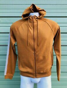 NWT-ZARA-MAN-Mustard-Basic-hoodie-sweatshirt-side-stripes-Zipper-front-size-L