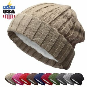 BN Knit Slouchy Baggy Beanie Winter Hat Ski Slouchy Cap Skull Men ... a2a617c2576c