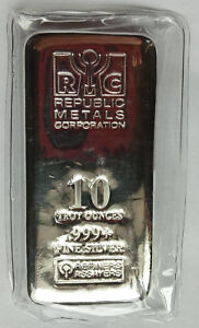 Republic-Metals-Corporation-RMC-10-Troy-oz-999-Fine-Silver-Bar-Sealed-Ag-Pure