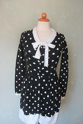 Kleid langarm schwarz mit weißen Punkten Schleife Größe 36 ...