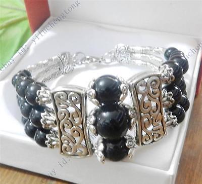 "Beautiful! 3 Rows Natural Black Agate Onxy Tibetan Silver Bracelets 7.5"""