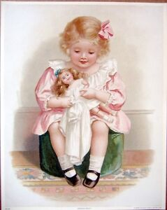art-print-DRESSING-DOLLY-Victorian-girl-doll-clothes-child-hassock-vtg-rep-11x14