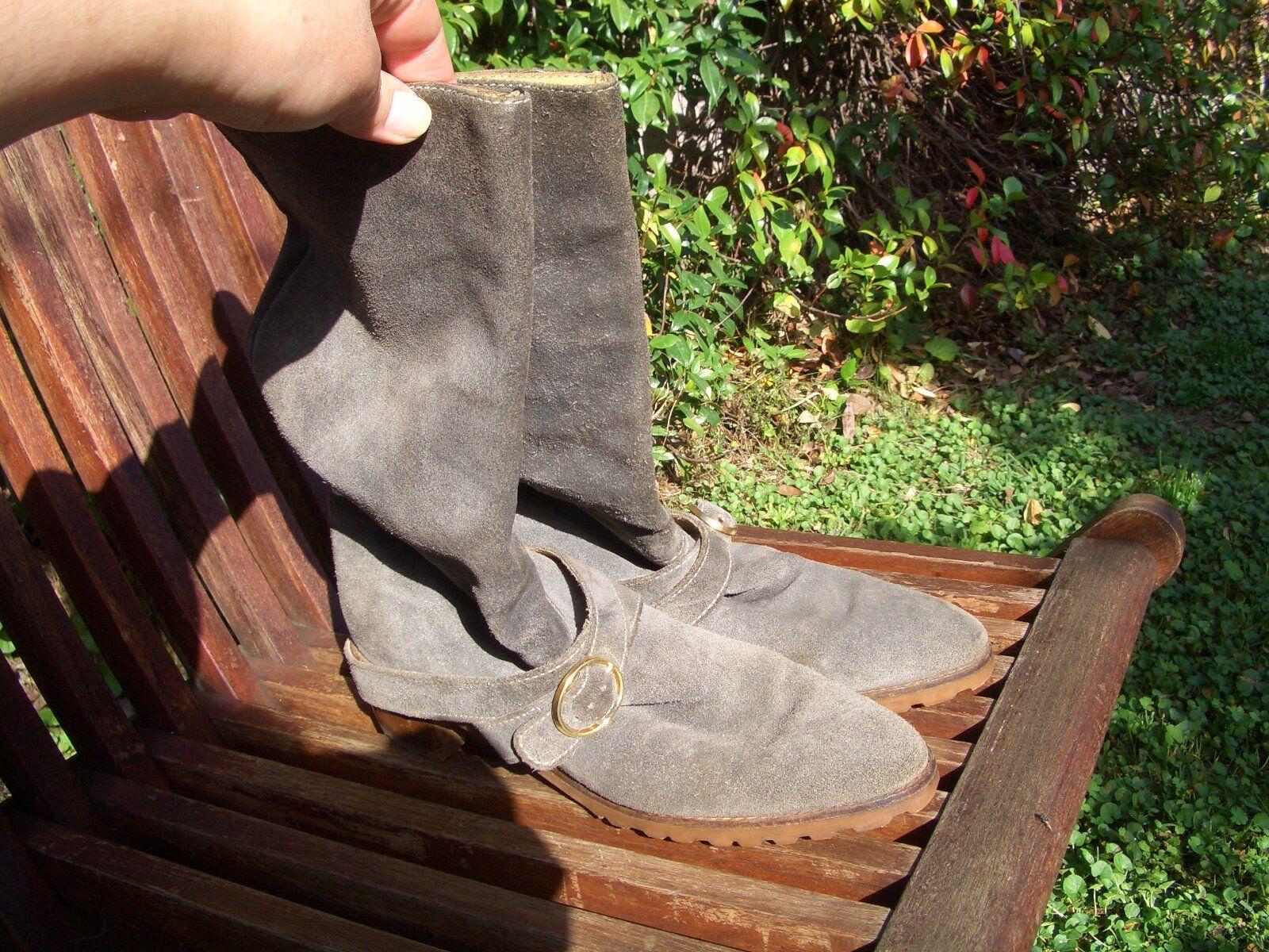 bottes VERO CAMOSCIO gris-bleu N°38   bleu-gris genuine chamois leather bottes