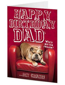 Détails Sur Joyeux Anniversaire Papa Drôle Grincheux French Bulldog Chien Sur Chaise Rouge Carte De Voeux Afficher Le Titre Dorigine