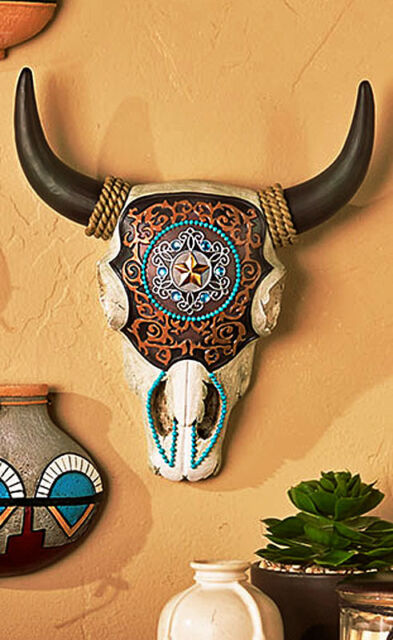 Colorful Cow Skull Western Wall Art Home Decor Southwest Native ...