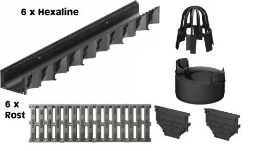 ACO 6 x Hexaline 2.0 Entwässerungsrinne Kunststoffrost und 1 x Zubehör