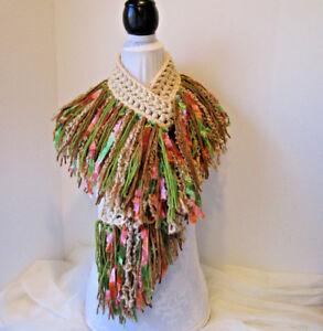 Details about Crochet Scarf ~FRINGE~Beige, Taupe, Tan & Green plus Peach &  Green ribbon yarn