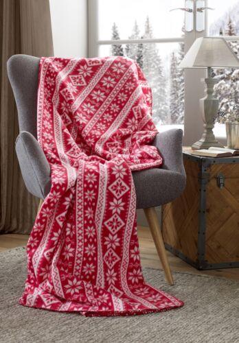 Nordic Snowflake Blanket Stitch Red White Christmas Fleece Throw Unique Red And White Christmas Throw Blanket