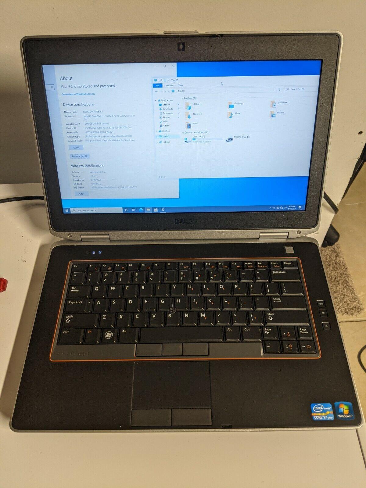 Dell Latitude E6420 Intel Core i7-2620M 2.7GHz 8GB RAM 256GB SSD Win 10 Pro