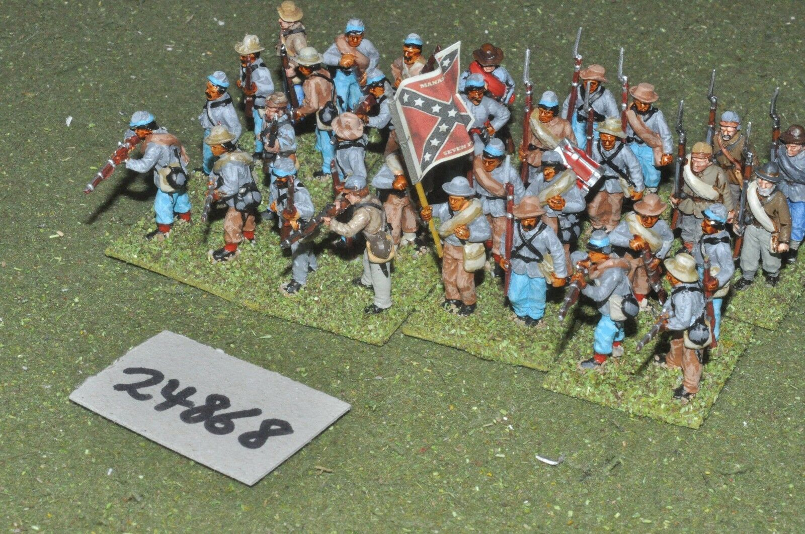25mm ACW   confederate - regiment (plastic) 32 figures - inf (24868)