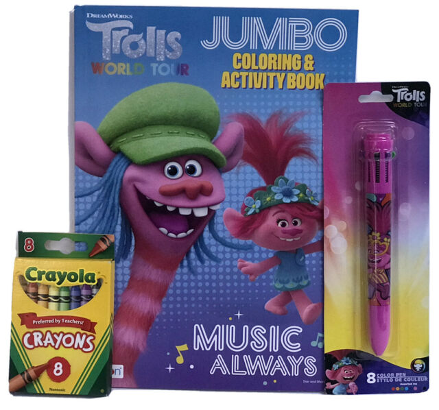 New 3 Pc DreamWorks Trolls World Tour Jumbo Coloring Book, Crayons, 8 Color Pen