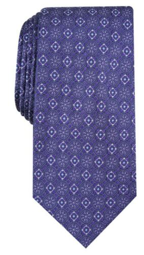 with Medallion in Purple Gold Purple Navy on Red 3 inch wide Silk Tie