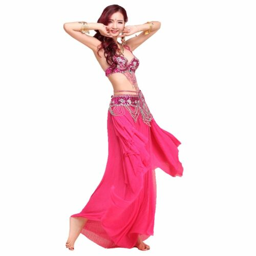 Professional Belly Dance Costume Beaded sets 2pcs set Bra Top Belt Size S M L