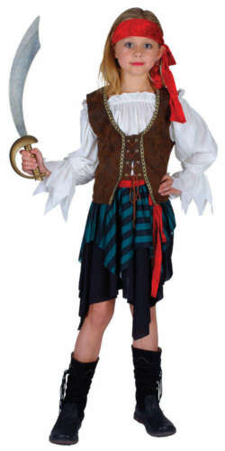 Girls Pirate High Seas Princess Fancy Dress Costume Caribbean Jack Book Week New