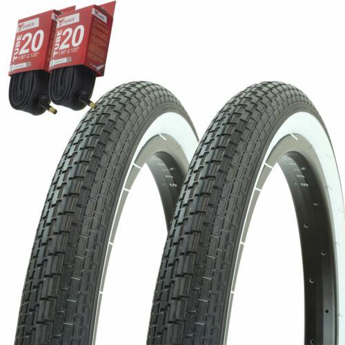 "Bicycle Bike Tires /& Tubes 20/"" x 2.125/"" Black//White Sidewall Lowrider Fat 1PAIR"