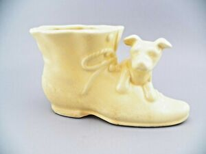 Vintage Shawnee Planter Puppy Dog on Boot Shoe Yellow  3 Button USA 1950's GUC
