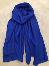 Royal Blue Pure Cashmere Wool Scarf Shawl Wrap Nepal Handmade Fine Knit Gift NEW