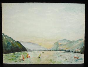 Voiliers-sur-le-lac-du-Bourget-et-la-Dent-du-Chat-Aquarelle-Savoie-Jura-c1970