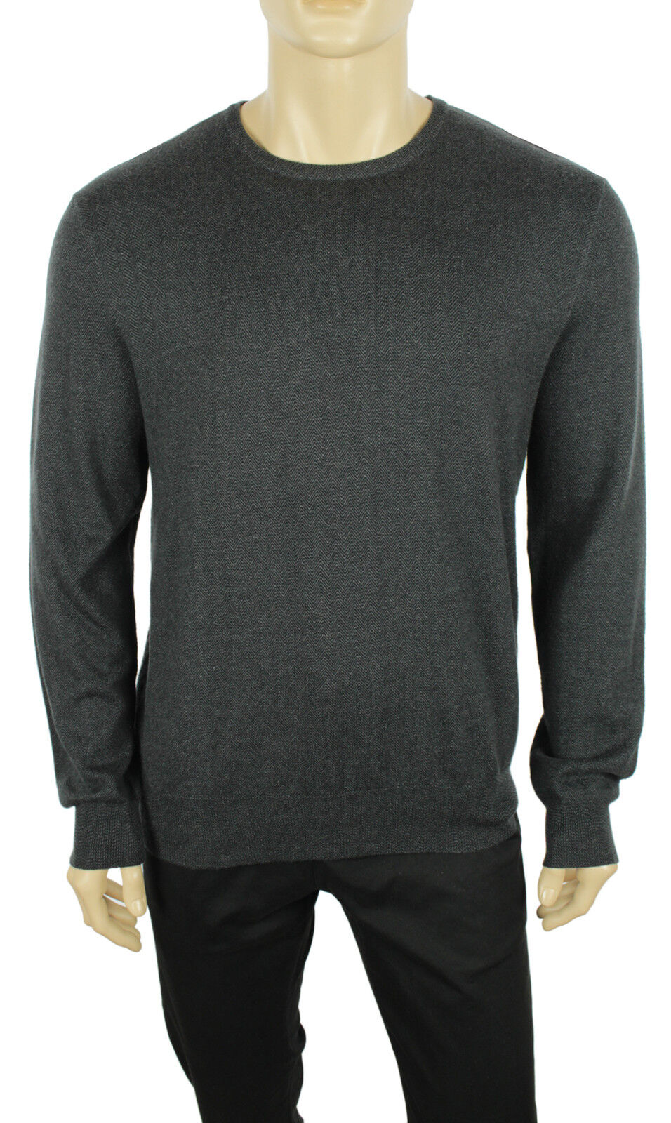 NEW POLO RALPH LAUREN HERRINGBONE grau COTTON CASHMERE PULLOVER SWEATER 245