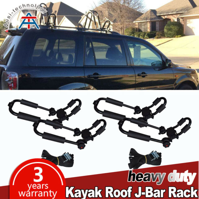 Kayak Roof Carrier >> 2pairs Kayak Roof Rack Canoe Boat Surf Snowboard Car Top Mounted J Bar Folding