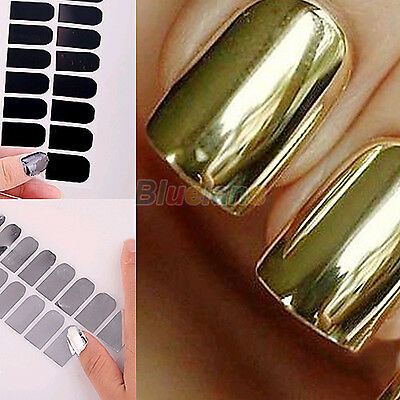 16pcs Foil Nail Art Sticker Gel Nail Patch Manicure Set Golden Black Deluxe