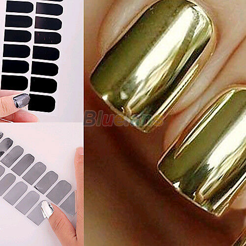 16pcs Foil Nail Art Sticker Gel Nail Patch Manicure Set Golden Black Deluxe