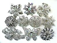 6 Brooches Wholesale Lot Clear Bling Rhinestone Silver Brooch Pin Wedding