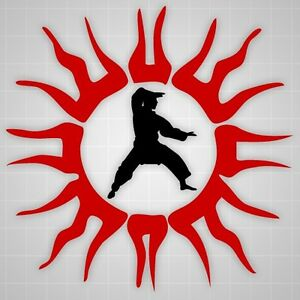 Martial arts wall decals, Youth Martial Arts Tribal Sun wall stickers, Kung fu