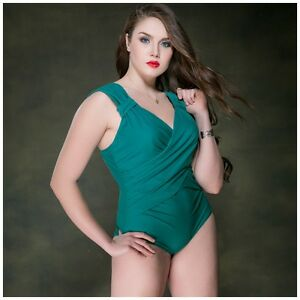 finest selection 4acc0 1cecb Details zu Plus Size Badeanzug Schwimmanz ug Swimsuit Damen grün Bikini  Bademode 2017