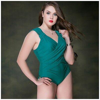 Plus Size Badeanzug Schwimmanzug  Swimsuit Damen grün Bikini Bademode 2017