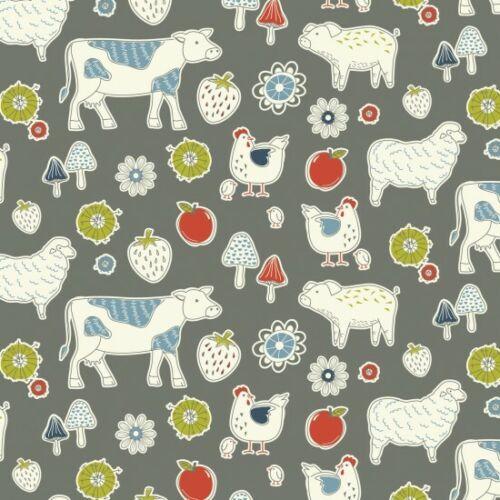 Nutex tissu de coton COUNTRY LANE gris animaux ferme Fat Quarters-mètres