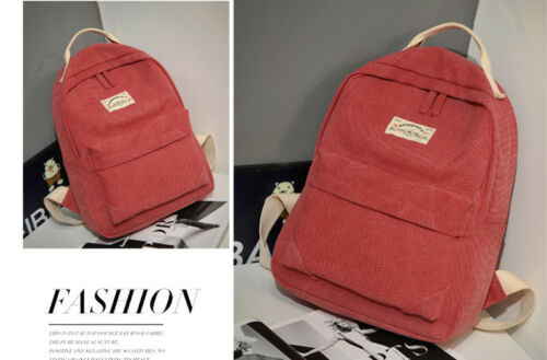 New Quality Canvas Simply Black and Red Ladies Womens Backpack Rucksack lbag9293