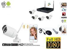 KIT VIDEOSORVEGLIANZA WIRELESS WIFI HD IP FULL HD 4 TELECAMERE NVR COMPLETO