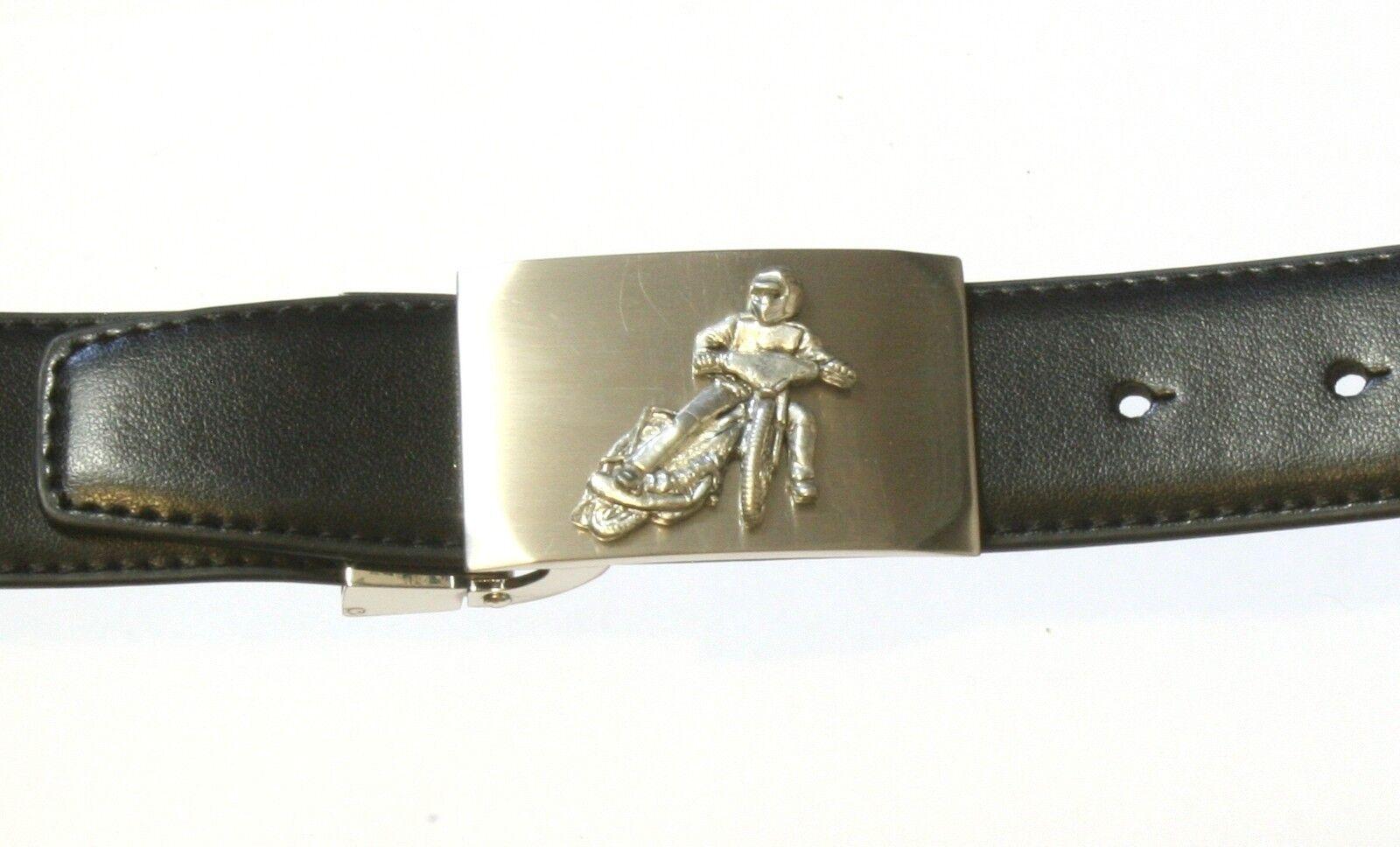 Speedway Black Leather Belt & Buckle Set In Gift Tin Motorsports Gift 340