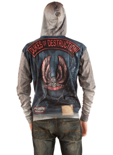 FAUX REAL SUBLIMATION BIKER  GANG HALLOWEEN SCARY COSTUME OUTFIT ZIP SWEAT SHIRT