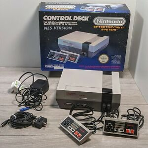 Nintendo NES Control Deck Console Boxed Tested & Working 2 controllers 1990