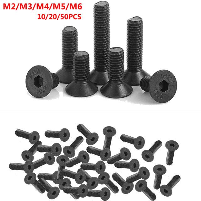 25pcs M4 Black Alloy Steel Internal Hex Socket Cylinder Head Cap Screw Bolt