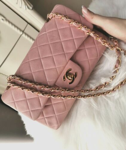 Rare Authentic Vintage CHANEL pink lambskin double