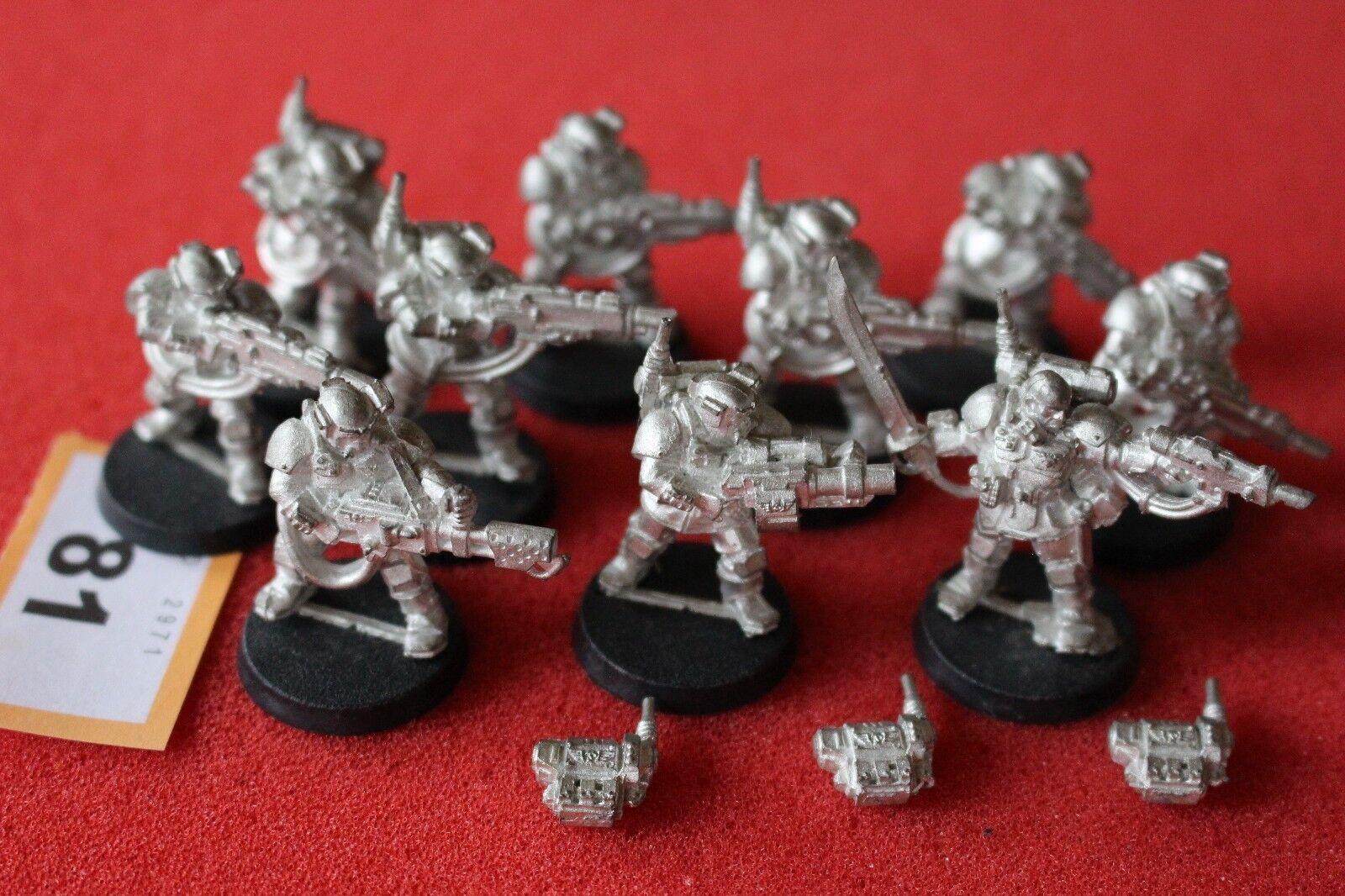 Games Workshop Warhammer 40k Kasrkin Stormtroopers Squad Metal 10 Figures OOP AF