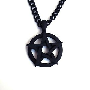 Goth-Heavy-Black-Death-Metal-Gothic-80s-90s-Pentagram-Pentacle-Pendant-Necklace