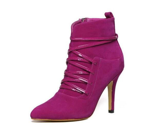 Stivali stivaletti scarpe stiletto 9 cm pelle lacci elegante rosa simil pelle cm CW776 09d3c5