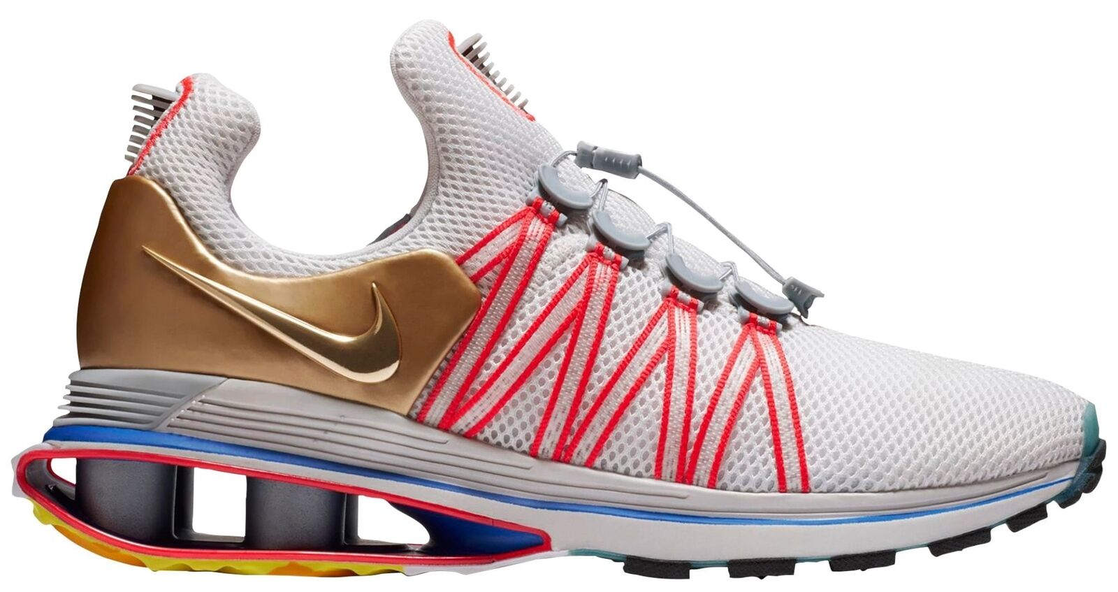 Nike Shox Gravity Mens AQ8553-009 Grey Red Metallic Gold Running Shoes Comfortable best-selling model of the brand